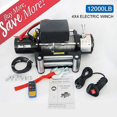 Maxload 12V 12000lbs Electric Recovery Winch with Remote Control Truck SUV LOT G