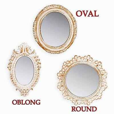 Hanging Miniature Wall Accent Mirror Choice Of 3 Styles Ornate White & Gold