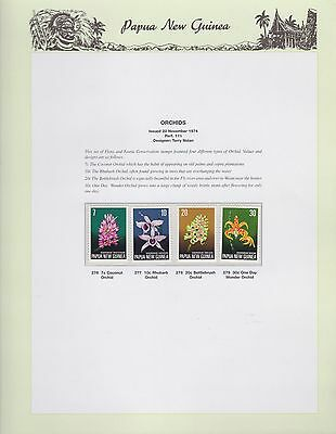 1974 PNG PAPUA NEW GUINEA Orchids STAMP SET K-435