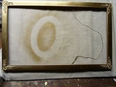Antique Victorian picture frame with metal corners   # 320