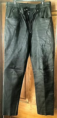 MAS-Genuine Black Leather MOTORCYCLE HARLEY PANTS Men's Size 36 Excellent