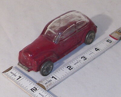 GLASS CAR CANDY CONTAINER 1930s ORIGINAL WITH METAL PLATE