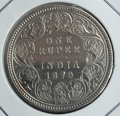 1879 India/British 1Rupee Silver Coin aUNC #0908