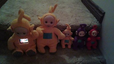 Vintage Teletubbies Talking Plush Figures Lot With Mini Teletubbies