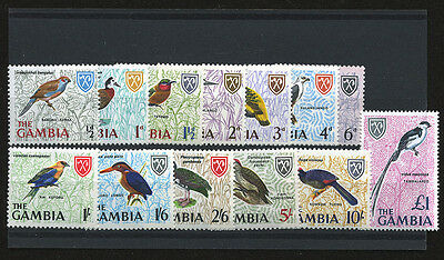 Gambia 1966 Definitive Birds 13 Pc. Stamp Set Scott # 215 - 227 Mint MNH