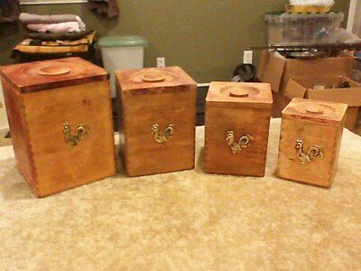 Vintage Kitchen Wooden Wood Canister Set Nesting Boxes Flour Sugar Coffee Tea