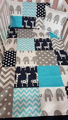 Brand New 4 pce Aqua, Navy & Grey Elephant /Giraffe Patchwork Cot bedding Set