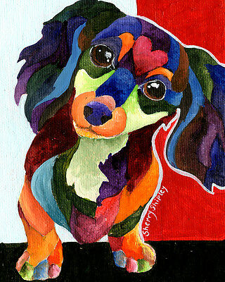 Puppy Love Long Haired Dachshund 8X10 DOG print by Artist Sherry Shipley