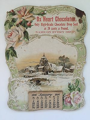 1904 OX HEART CHOCOLATES Calendar- Advertising, Oswego Candy Works, NY- Complete