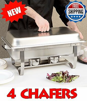 4 CHAFERS- 8 Qt. Full Size Stainless Steel Chafer Folding Frame Catering Buffet