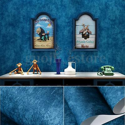 10m Non-woven Textured Modern Blue Wallpaper Roll Home Embossed Mural Decoration