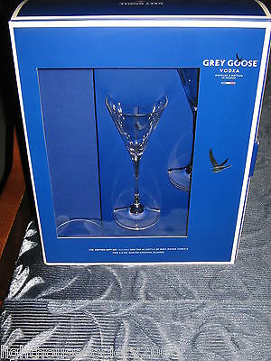 Grey Goose Vodka Martini Cocktail Glasses Set of 2 Clear Glass Logos France Mint