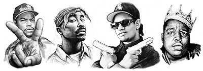 Biggie Small with 2 Pac Rap Star Long Group Drawing Poster 85x30cm