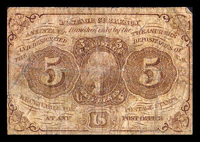 UNITED STATES AMERICA USA FRACTIONAL CURRENCY 1862 1st ISSUE 5 CENTS P97