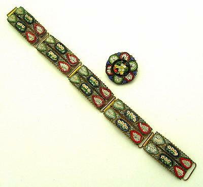 Antique Edwardian Micro Mosaic 5 Link Bracelet and Brooch Made in Italy