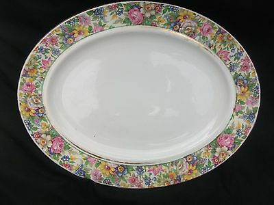 PALISSY Oval PLATE SERVING CHARGER Pink/Yellow Floral CHINTZ 31cm x 24cm c.1940s
