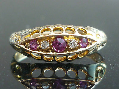 A Stunning 18Ct Edwardian C1910 Ruby And Diamond Ring M8