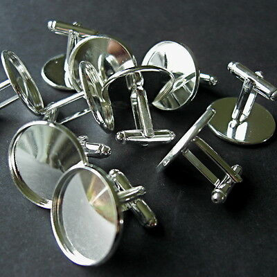 10 SILVER PLATED ROUND COPPER CABOCHON SETTING CUFF LINKS BLANKS   Fit 14mm dia