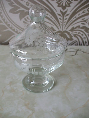 "Vintage Retro Glass Sugar Bowl Basin With Lid Bon Bon Jar 5.5"" Tall"
