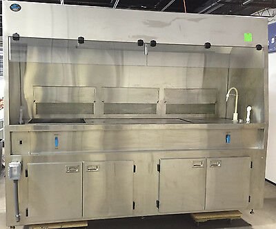 Air Control Microvoid Solvent Hood FH21-SS / 8 ft Stainless / 2 Sinks /Wrty
