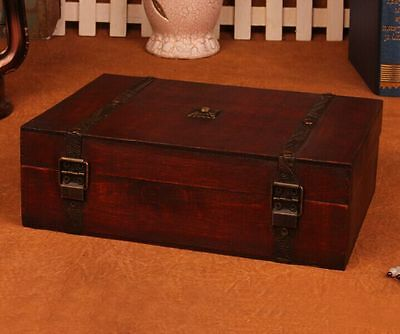 Vintage Wooden  Storage Trinket Jewelry For Box Chest Decorative  Treasure Case