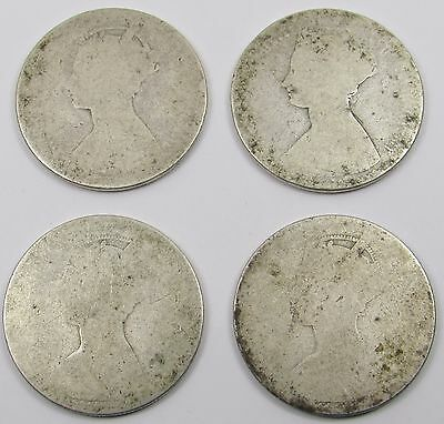4 Queen Victoria Silver Gothic Florins / Two Shillings Coins