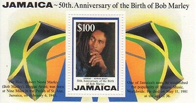1995, 50th Anniversary of Birth of Bob Marley, $100 mini sheet