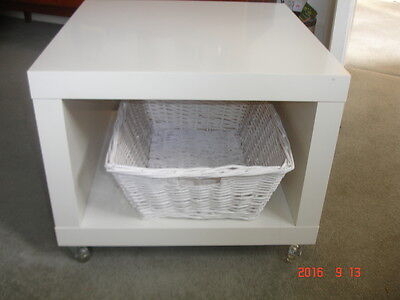 Ikea -  White Coffee Table With Basket