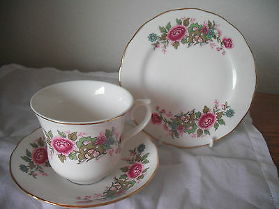 Queen Anne(Bone China) Red Flowers and Foliage TRIO