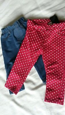 2 pairs baby girls trousers 12-18 months