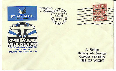1934 Railway/Air Services , First UK Air Mail , Douglas to Cowes .