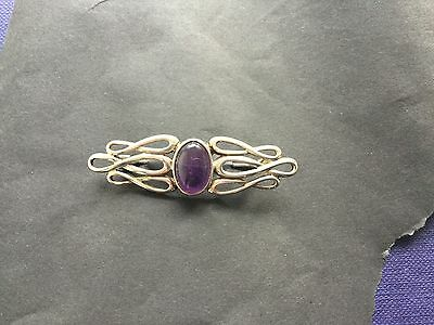 Solid Silver Brooch With Stone Impressed .925