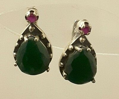 Ruby And Emerald Stone Gorgeous 925 Genuine Sterling  Silver  Earrings (New)