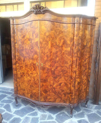Very Big Armoire Louis Xv Venetian Baroque Walnut Veneered First '900