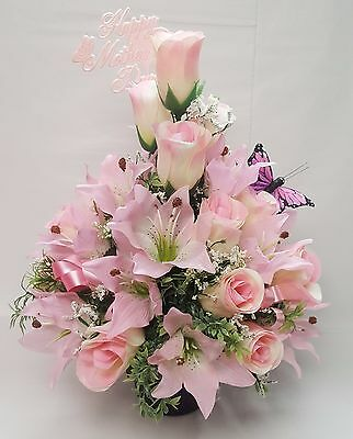 Artificial Flowers Mothers Day Memorial Grave Pot Arrangement Pink Rose And Lily