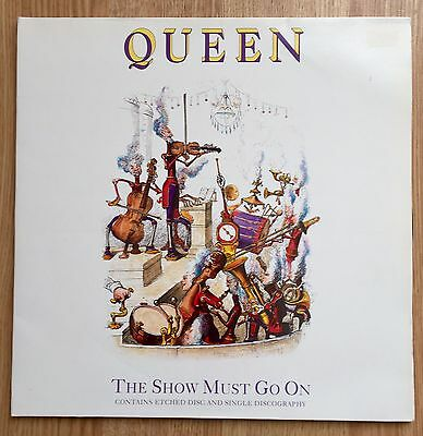 "Queen - THE SHOW MUST GO ON 12"" maxi single vinyl GATEFOLD sleeve Etched rare"