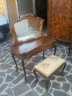 Beautiful Dressing Table Louis Xv Venetian Baroque Walnut Veneered First '900