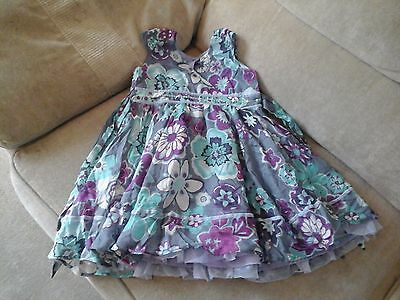 Girl's M&S Purple Party Dress with Flower deatil - size 2-3 years