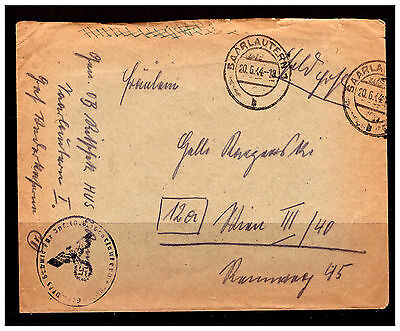 Germany Cover. SAARLAUTERN 7. With German Eagle Censor Stamp. 1944. Used. #311