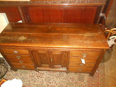 Antique Oak Dresser Base Sideboard George Iii Plank Top Draws Cupboard