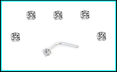 5 2mm Diamonte clear Bent L Nose studs/rings/pins Made with Swarovski crystal