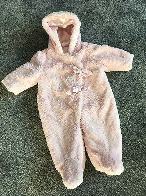 Baby Girls Thick Warm Snowsuit Pram suit Pink 3-6 Months Hooded