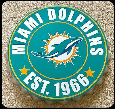 "Miami Dolphins NFL Logo Bottle Top 13.5"" Hanging Wall Art Decoration"