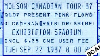 Pink Floyd Concert Ticket 1987 Exhibition Stadium, Toronto. Unused Ticket