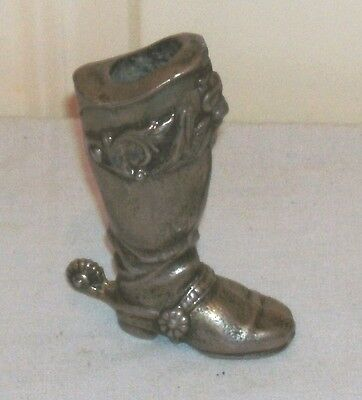 Ornate Antique Silver Plated Miniature Cowboy Boot In Fairly Good Condition