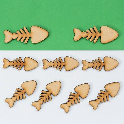 Wooden MDF Fish Bone Shape Craft  Embellishments Decoration Heart Gift
