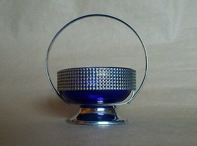 Chrome and Blue Glass Basket