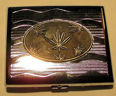Cigarette Case Metal With Weed Logo