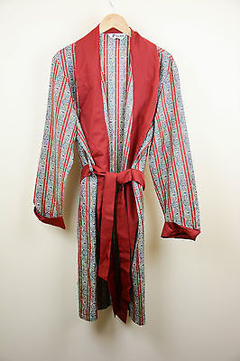 Rare Mens Tootal vintage satin red smoking jacket dressing gown style designer