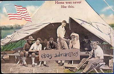 USA CAMP LIFE POSTCARD c1910 Military Army Soldiers Cleaning Rifles